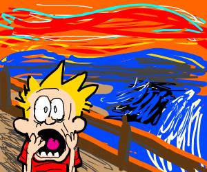 Calvin in The Scream Painting