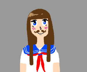 Anime school girl with mustache