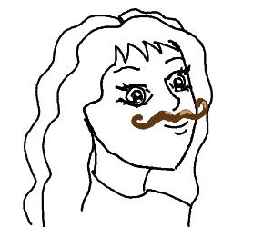 Anime Girl With A Mustache