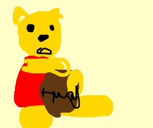 winnie the pooh with honey jar drawing by thedoctorbillbo