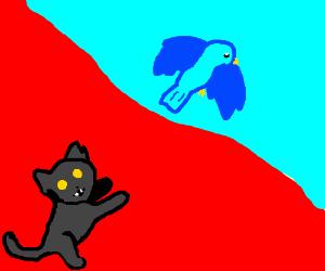 An evil cat chasing a bluebird