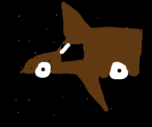 brown transit space ship going though a void