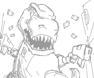 T-Rex with machine guns