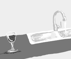 glass of wine next to sink running water
