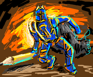 Crayon Knight is blue and yellow