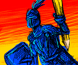 Human knight in blue armor, holding big pencil