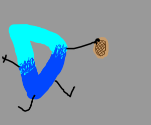 Drawception D holding a waffle