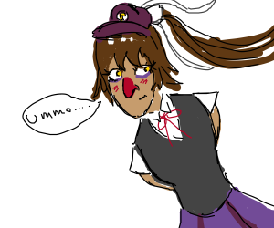 Waluigi is a anime school girl (also shy)