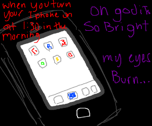 Smartphone screen in the dark