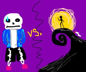 Sans the skeleton vs nightmare before cristmas