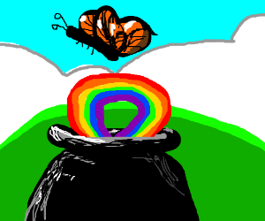 Butterfly comes out of pot with rainbow