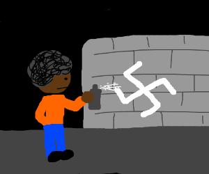 Black nazi spraying white stuff?