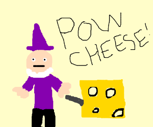 Purple wizard holding up square swiss cheese
