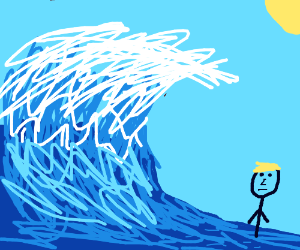 Blonde dude in water at massive wave