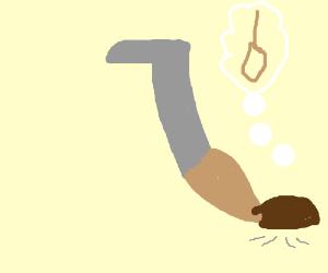 old-fashioned vacuum hates his life