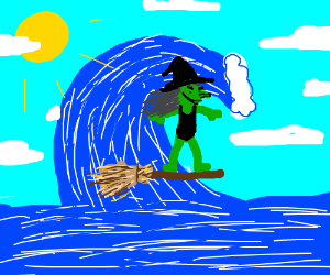 Witch surfing on her broomstick