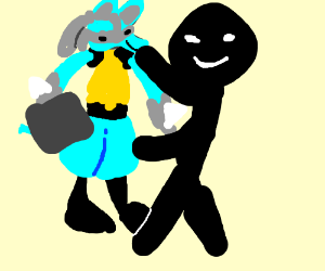 Lucario hugs man with food tray