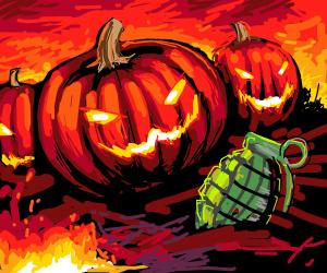 Pumpkins with grenade.