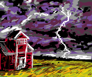 Thunderstorm in the country- red house