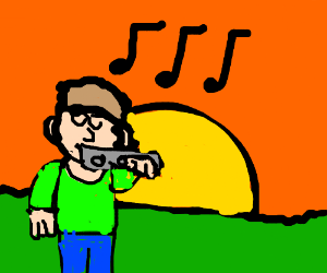 Man plays flute in the sunset