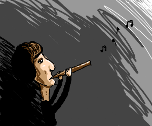 Scruffy man playing flute.
