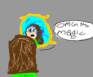 Lady facing a magic, blue mirror