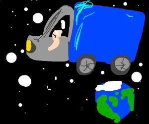 Fabulously drawn semi truck in space