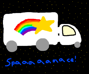 Rainbow star truck in space