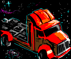 aah thats so cool : truck driving in space