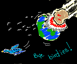 Birds fly away because giant astored hit earth