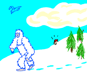 A yeti flips you the bird
