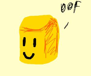 "Yellow ROBLOX head says ""Oof"""