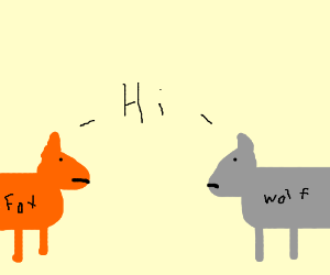 a fox and wolf meet eachother and say hi.