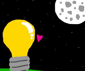 lightbulb loves the moon