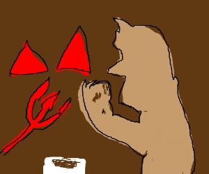 The devil eats a donut