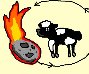 Astroid orbiting a black and white sheep