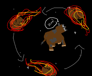a flaming meteor orbits a cow