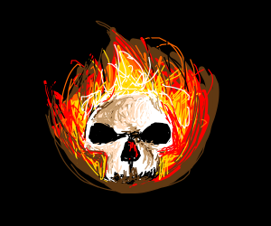 Epic Fire Skull Drawing By JhediKnight