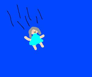 old woman in a blue dress falling