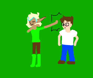 An Elf Dabbing on a guy