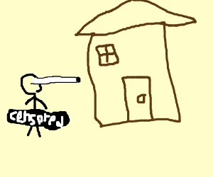 naked stickman sees a house