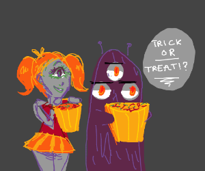 Monsters go trick-or-treating