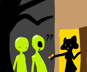 Aliens confused by trick-or-treat