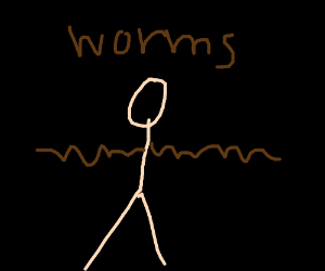 Man with earthworm arms