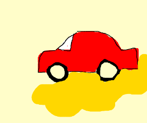 A red care driving on mustard