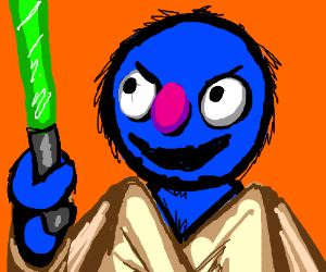 Grover, adorable furry blue Jedi knight