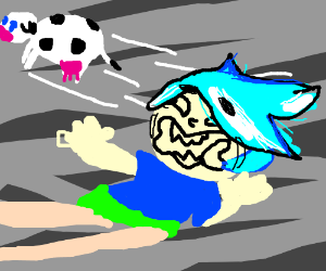 Some guy in a tornado with blue hair