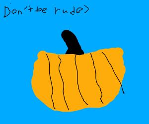 a bad drawing of a pumpkin