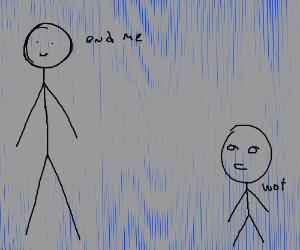 big guy talking to small guy