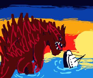 godzilla attacking a ship at sunset